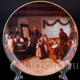 Декоративная фарфоровая тарелка Школьный экзамен, Швейцария, 1996 год.